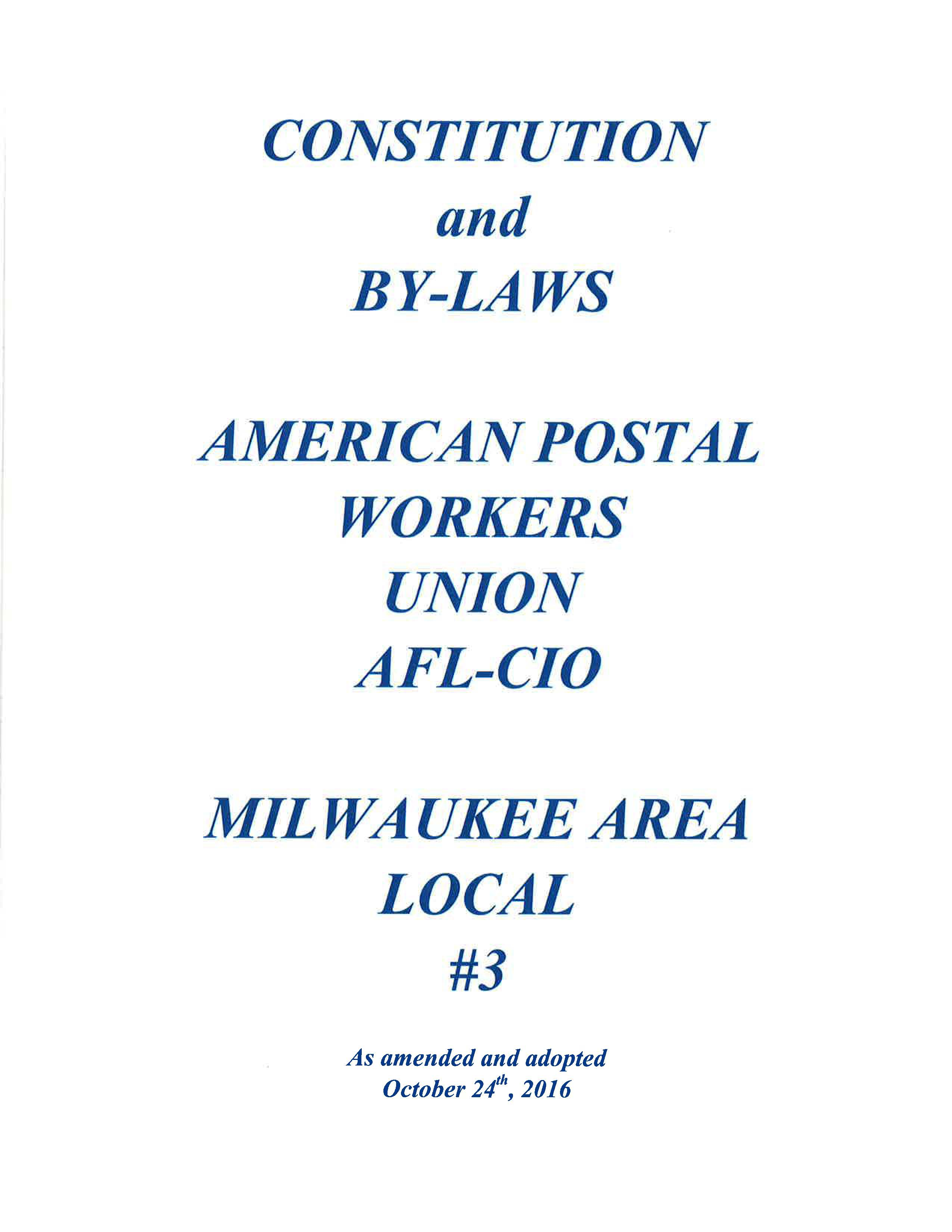 A New Contract Local Agreement American Postal Workers Milwaukee