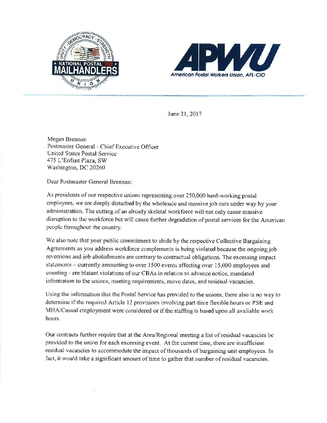APWU and Mail Handlers Send United Message