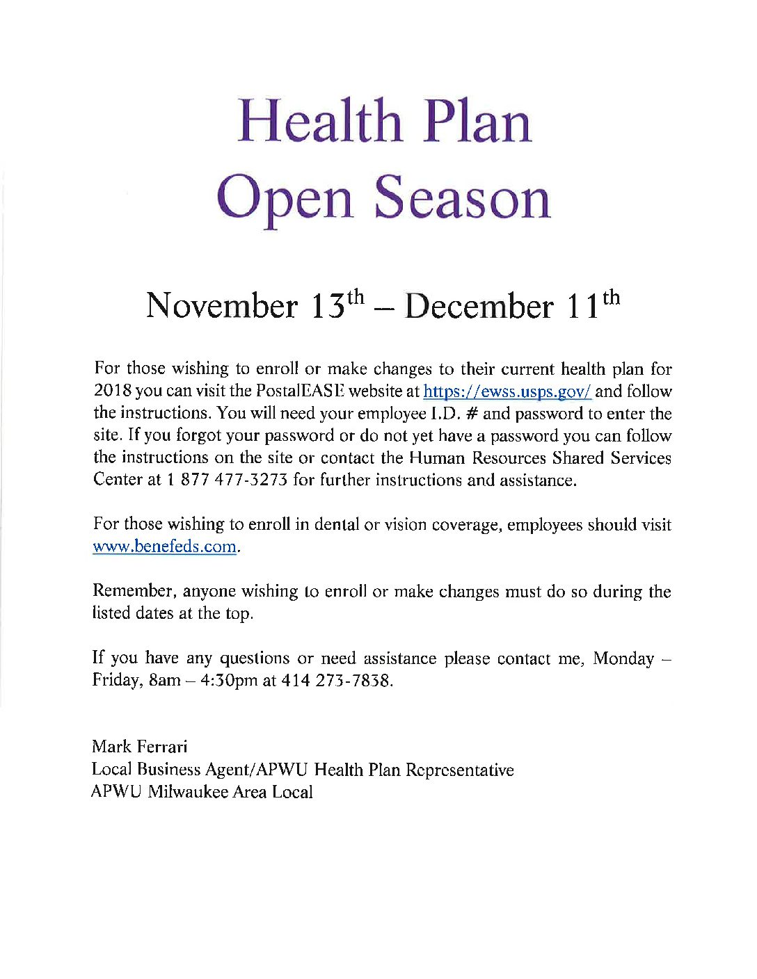 Health Plan Open Season