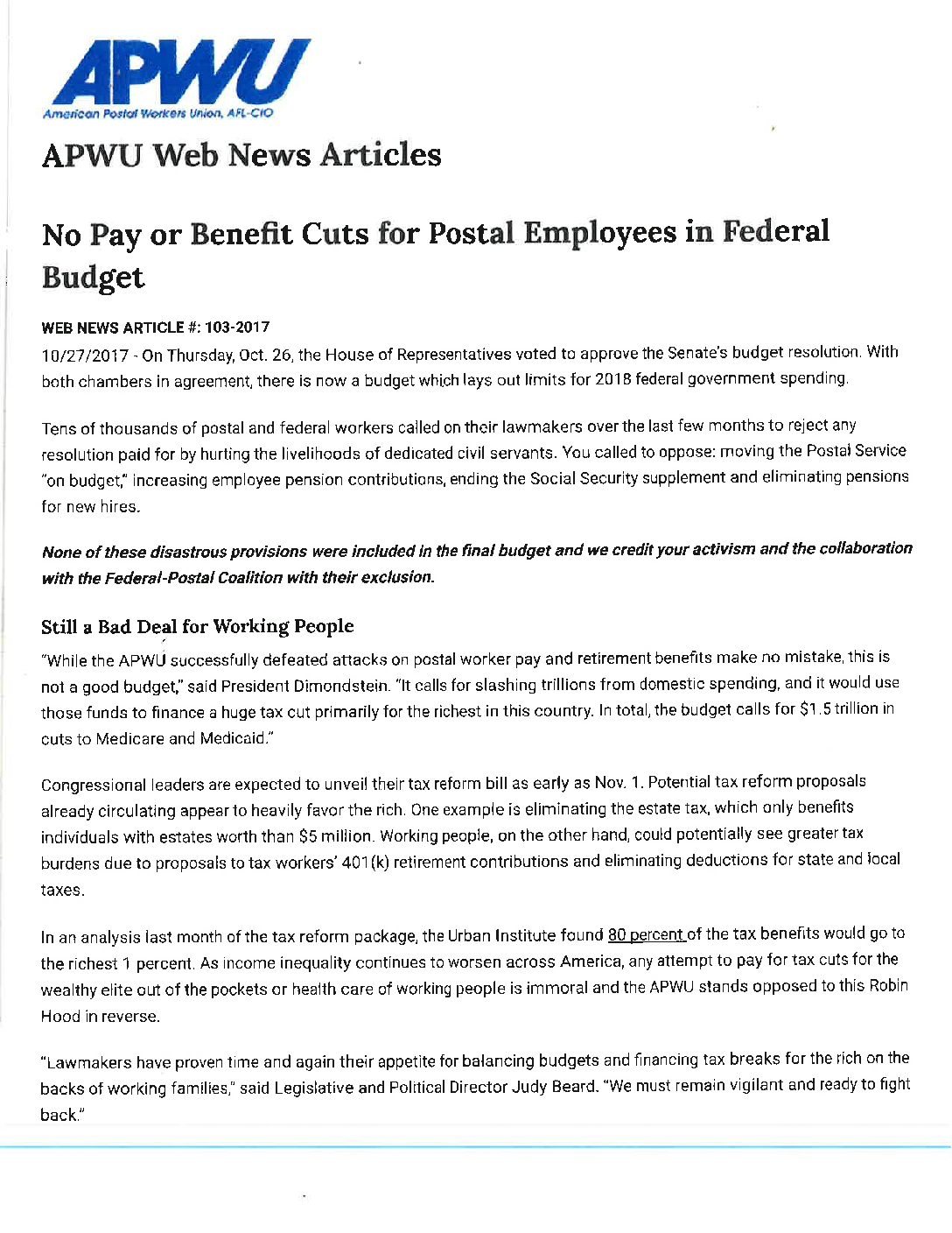 No Pay or Benefit Cuts For Postal Employees in Federal Budget