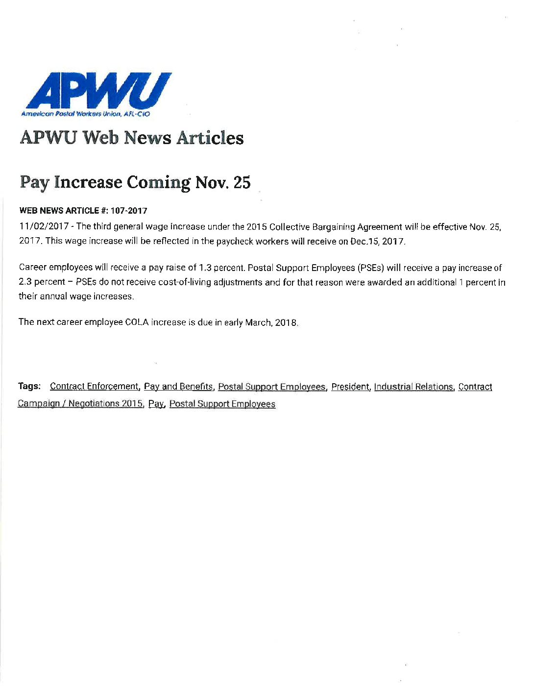 Pay Increases In November