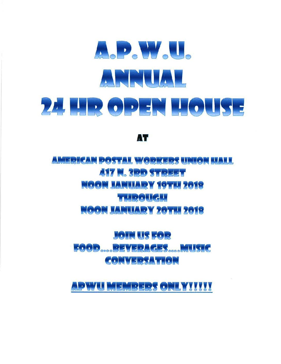 APWU 24 Hour Open House